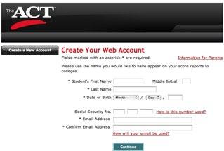 ACT Test Registration